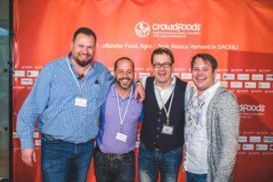 Das Konferenzteam vom crowdfoods Verband (vlnr): Jay F Kay, Enzo Schrembs, Mark Leinemann und Alex Heger)